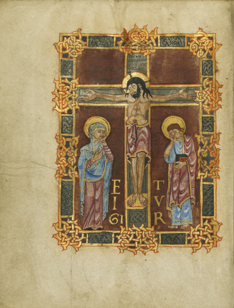 The Crucifixion; Unknown; Beauvais (probably), France; first quarter of 11th century; Tempera colors, gold, silver, and ink on parchment; Leaf: 23.2 × 17.9 cm (9 1/8 × 7 1/16 in.); Ms. Ludwig V 1 (83.MF.76), fol. 2v; The J. Paul Getty Museum, Los Angeles, Ms. Ludwig V 1, fol. 2v; Rights Statement: No Copyright - United States