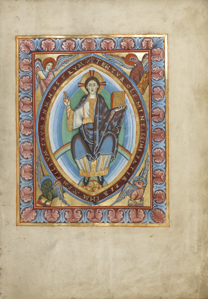 Christ in Majesty; Unknown; about 1025–1050; Tempera colors and gold on parchment; Ms. Ludwig V 2 (83.MF.77), fol. 22; Rights Statement: No Copyright - United States