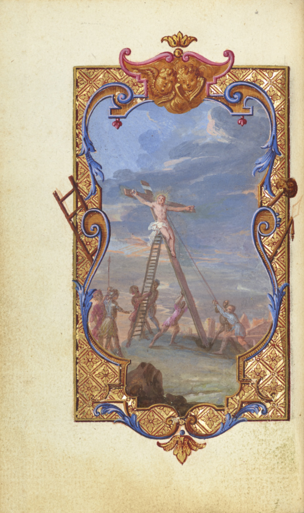 Prières de la Messe; Jean Pierre Rousselet (French, active about 1677 - 1736), Jean Pierre Rousselet (French, active about 1677 - 1736); Paris, France; about 1720–1730; Tempera and gold leaf on paper bound between pasteboard covered outside in original dark blue morocco, and inside in red morocco in fanfare style; Leaf: 11.9 × 7.1 cm (4 11/16 × 2 13/16 in.); Ms. Ludwig V 8 (83.MG.83); The J. Paul Getty Museum, Los Angeles, Ms. Ludwig V 8; Rights Statement: No Copyright - United States