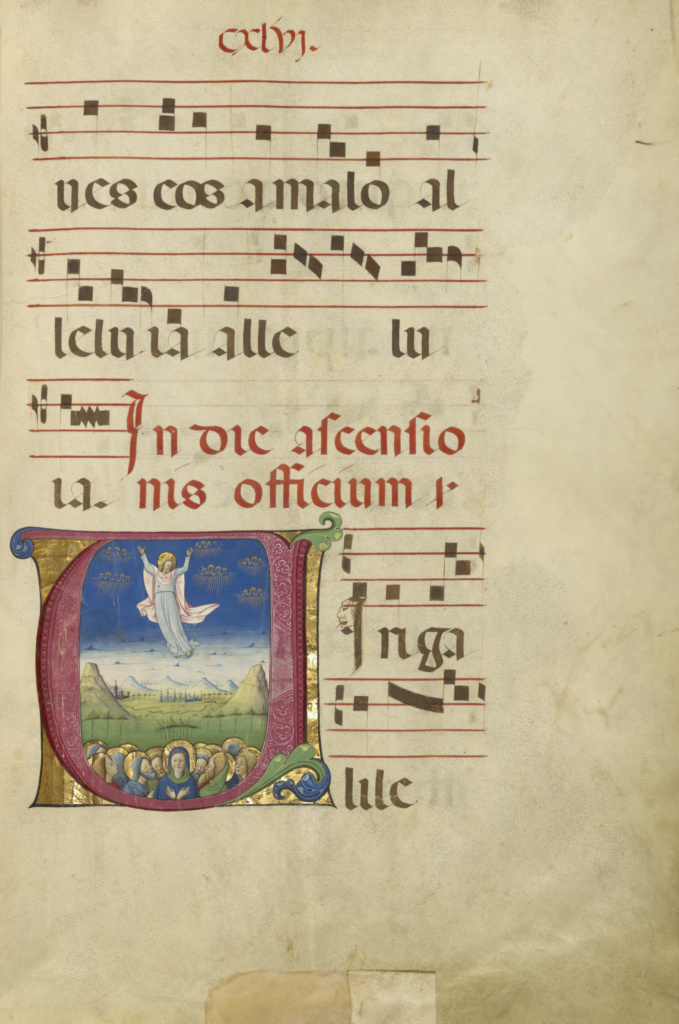 Initial V: The Ascension; Unknown; about 1460–1480; Tempera colors and gold leaf on parchment; Leaf: 60.3 × 44 cm (23 3/4 × 17 5/16 in.); Ms. Ludwig VI 2 (83.MH.85), fol. 146; Rights Statement: No Copyright - United States