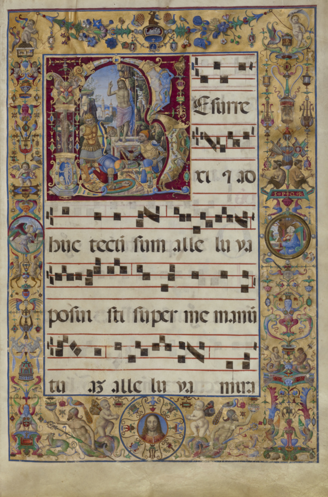 Initial R: The Resurrection; Antonio da Monza (Italian, active about 1480 - 1505); Rome, Lazio, Italy; late 15th or early 16th century; Tempera colors, gold leaf, and ink on parchment bound between original wood boards covered with brown leather; Leaf: 64.1 × 43.5 cm (25 1/4 × 17 1/8 in.); Ms. Ludwig VI 3 (83.MH.86), fol. 16; The J. Paul Getty Museum, Los Angeles, Ms. Ludwig VI 3, fol. 16; Rights Statement: No Copyright - United States