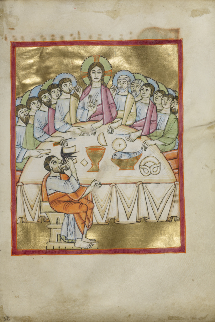 The Last Supper; Unknown; Regensburg, Bavaria, Germany; about 1030–1040; Tempera colors, gold leaf, and ink on parchment; Leaf: 23.2 × 16 cm (9 1/8 × 6 5/16 in.); Ms. Ludwig VII 1 (83.MI.90), fol. 38; The J. Paul Getty Museum, Los Angeles, Ms. Ludwig VII 1, fol. 38; Rights Statement: No Copyright - United States