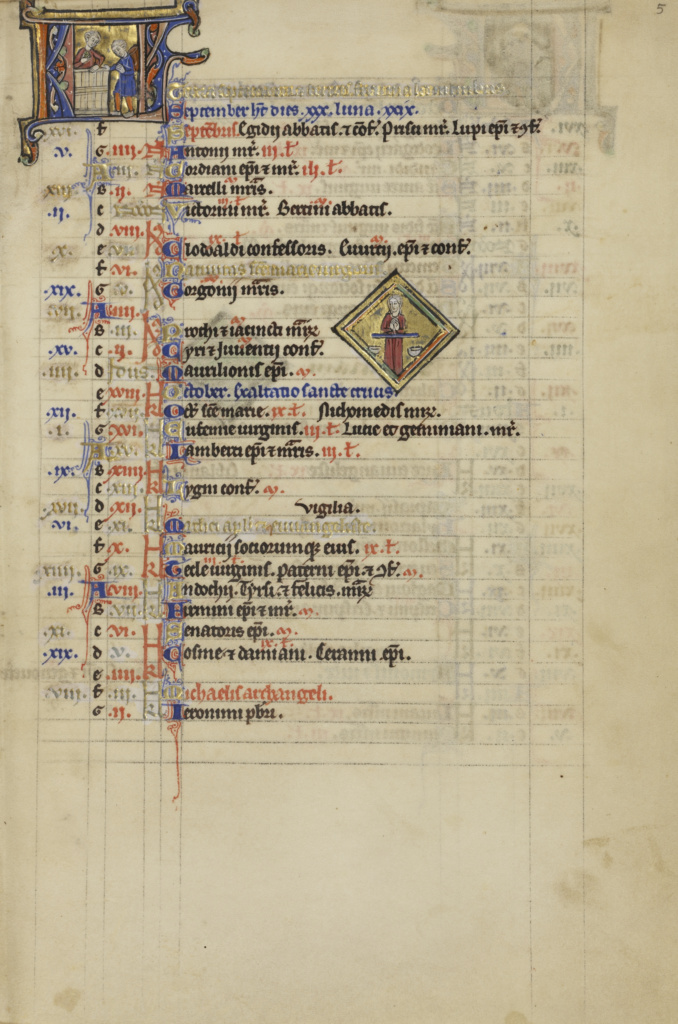 A Man Treading Grapes; Zodiacal Sign of Libra; Unknown; Paris, France; about 1250–1260; Tempera colors, gold leaf, and ink on parchment; Leaf: 19.2 × 13.3 cm (7 9/16 × 5 1/4 in.); Ms. Ludwig VIII 4 (83.MK.95), fol. 5; The J. Paul Getty Museum, Los Angeles, Ms. Ludwig VIII 4, fol. 5; Rights Statement: No Copyright - United States