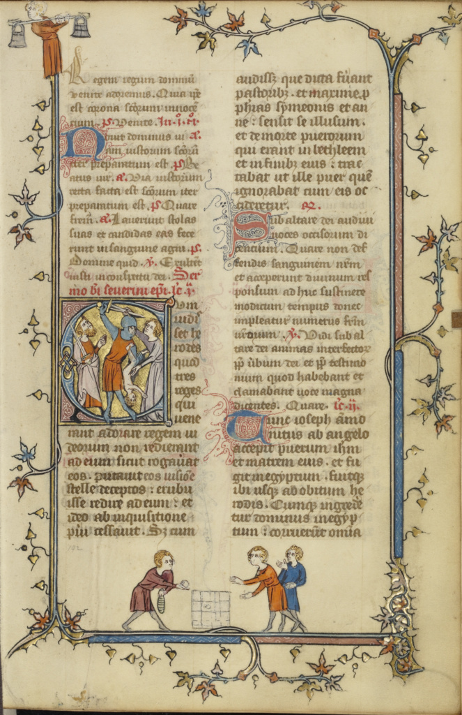 Initial C: The Massacre of the Innocents; Unknown; Paris, France; about 1320–1325; Tempera colors, gold leaf, and ink on parchment; Leaf: 16.7 × 11.1 cm (6 9/16 × 4 3/8 in.); Ms. Ludwig IX 2 (83.ML.98), fol. 142; The J. Paul Getty Museum, Los Angeles, Ms. Ludwig IX 2, fol. 142; Rights Statement: No Copyright - United States