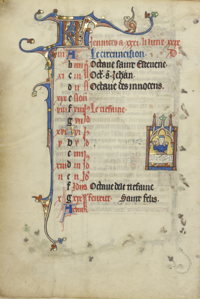 Calendar Page for January; Feasting; Janus; Unknown; Northeastern France, France; about 1300; Tempera colors, gold leaf, and ink on parchment; Leaf: 26.4 × 18.3 cm (10 3/8 × 7 3/16 in.); Ms. Ludwig IX 3 (83.ML.99), fol. 2v; The J. Paul Getty Museum, Los Angeles, Ms. Ludwig IX 3, fol. 2v; Rights Statement: No Copyright - United States