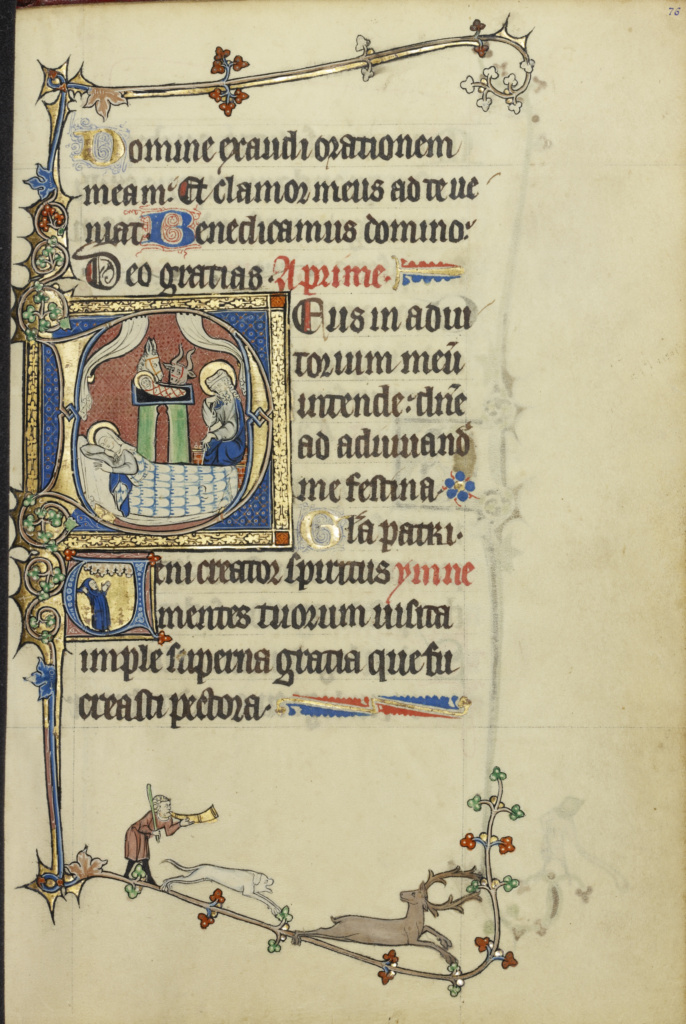Initial D: The Nativity; Initial V: A Monk in Prayer; Unknown; Northeastern France, France; about 1300; Tempera colors, gold leaf, and ink on parchment; Leaf: 26.4 × 18.3 cm (10 3/8 × 7 3/16 in.); Ms. Ludwig IX 3 (83.ML.99), fol. 76; The J. Paul Getty Museum, Los Angeles, Ms. Ludwig IX 3, fol. 76; Rights Statement: No Copyright - United States