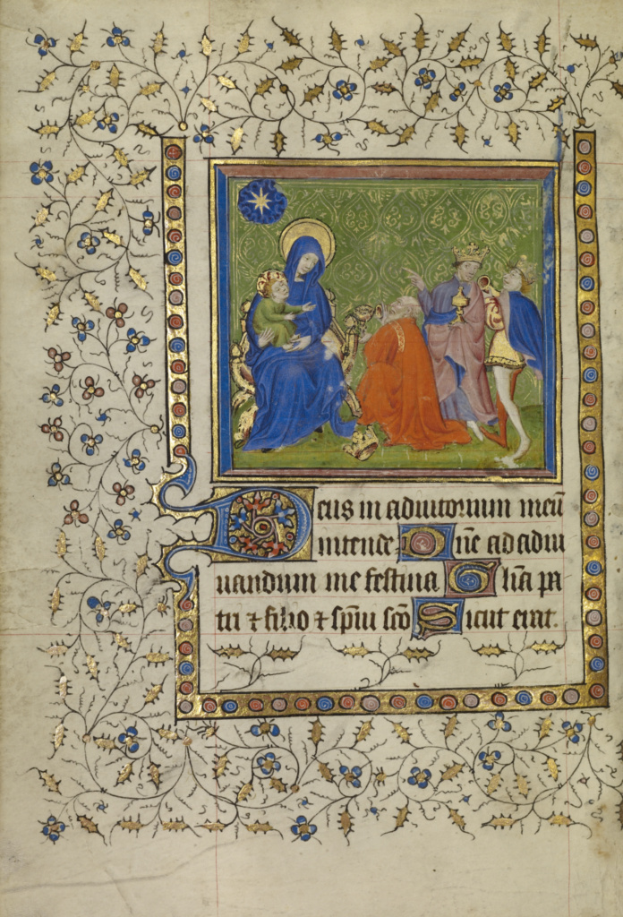 The Adoration of the Magi; Unknown; about 1400–1410; Tempera colors, gold leaf, gold paint, and ink on parchment; Leaf: 18.9 × 13.2 cm (7 7/16 × 5 3/16 in.); Ms. Ludwig IX 4 (83.ML.100), fol. 49v; Rights Statement: No Copyright - United States