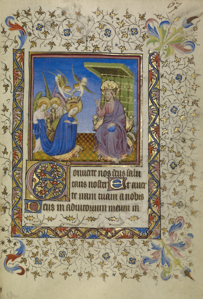 Book of Hours; Unknown; about 1400–1410; Tempera colors, gold leaf, gold paint, and ink on parchment bound between pasteboard covered with Renaissance brown calf; Leaf: 18.9 × 13.2 cm (7 7/16 × 5 3/16 in.); Ms. Ludwig IX 4 (83.ML.100); Rights Statement: No Copyright - United States