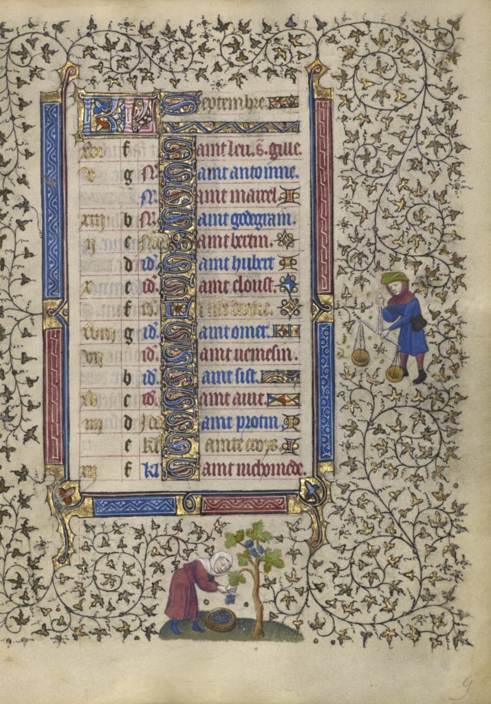 Calendar Page for September; Harvesting Grapes; Libra; Follower of the Egerton Master (French / Netherlandish, active about 1405 - 1420); Paris, France; about 1410; Tempera colors, gold leaf, gold paint, and ink on parchment; Leaf: 19.1 × 14 cm (7 1/2 × 5 1/2 in.); Ms. Ludwig IX 5 (83.ML.101), fol. 9; The J. Paul Getty Museum, Los Angeles, Ms. Ludwig IX 5, fol. 9; Rights Statement: No Copyright - United States