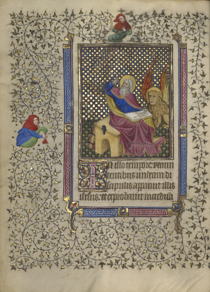 Book of Hours; Follower of the Boucicaut Master (French, active about 1390 - 1430), and a follower of the Egerton Master (French / Netherlandish, active about 1405 - 1420); about 1410; Tempera colors, gold leaf, gold paint, and ink on parchment bound between pasteboard covered with red morocco; Leaf: 19.1 × 14 cm (7 1/2 × 5 1/2 in.); Ms. Ludwig IX 5 (83.ML.101); Rights Statement: No Copyright - United States