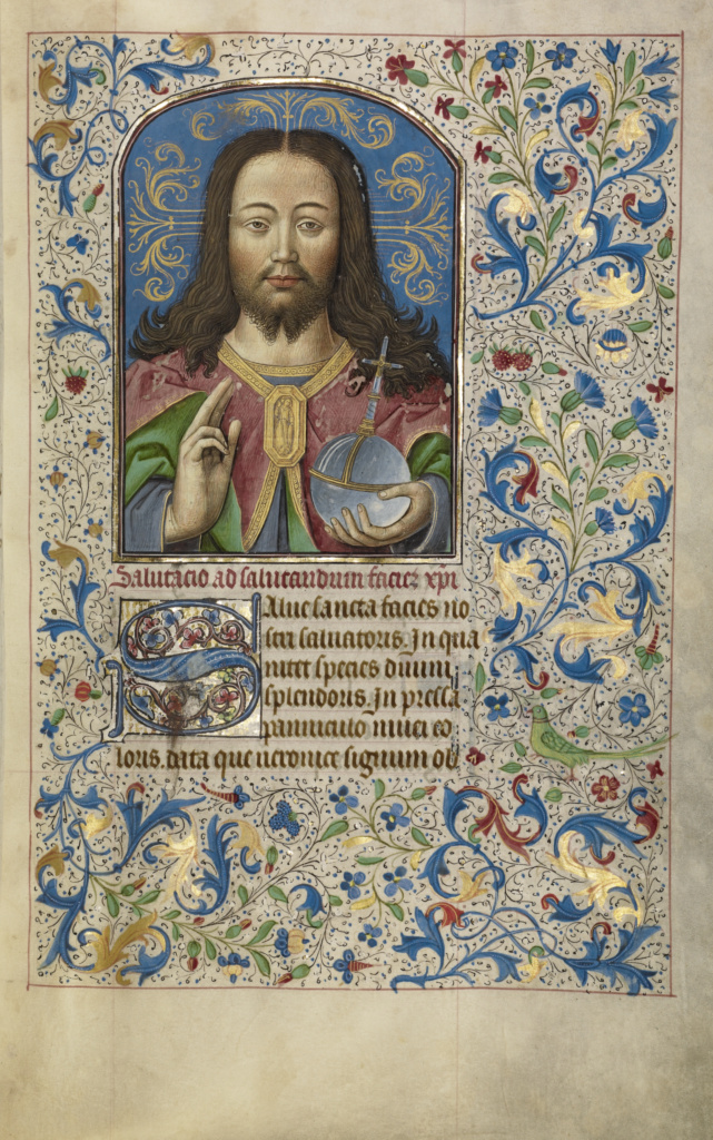 Salvator Mundi; Workshop of Willem Vrelant (Flemish, died 1481, active 1454 - 1481); early 1460s; Tempera colors, gold leaf, and ink on parchment; Leaf: 25.6 × 17.3 cm (10 1/16 × 6 13/16 in.); Ms. Ludwig IX 8 (83.ML.104), fol. 32; Rights Statement: No Copyright - United States