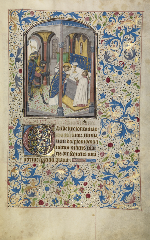 The Martyrdom of Saint Thomas Becket; Willem Vrelant (Flemish, died 1481, active 1454 - 1481); early 1460s; Tempera colors, gold leaf, and ink on parchment; Leaf: 25.6 × 17.3 cm (10 1/16 × 6 13/16 in.); Ms. Ludwig IX 8 (83.ML.104), fol. 48; Rights Statement: No Copyright - United States