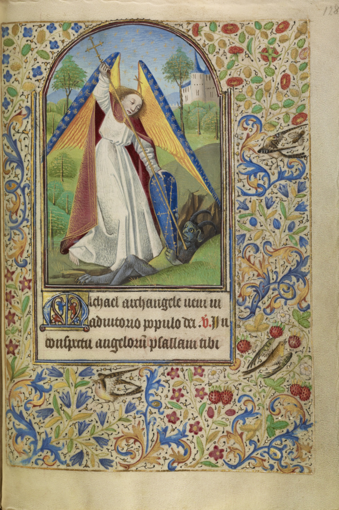 Saint Michael Battling the Devil; Master of Jacques of Luxembourg (French, active about 1460 - 1470); Northern France, France; about 1466–1470; Tempera colors, gold leaf, silver leaf, and ink on parchment; Leaf: 16.4 × 11.4 cm (6 7/16 × 4 1/2 in.); Ms. Ludwig IX 11 (83.ML.107), fol. 128; The J. Paul Getty Museum, Los Angeles, Ms. Ludwig IX 11, fol. 128; Rights Statement: No Copyright - United States