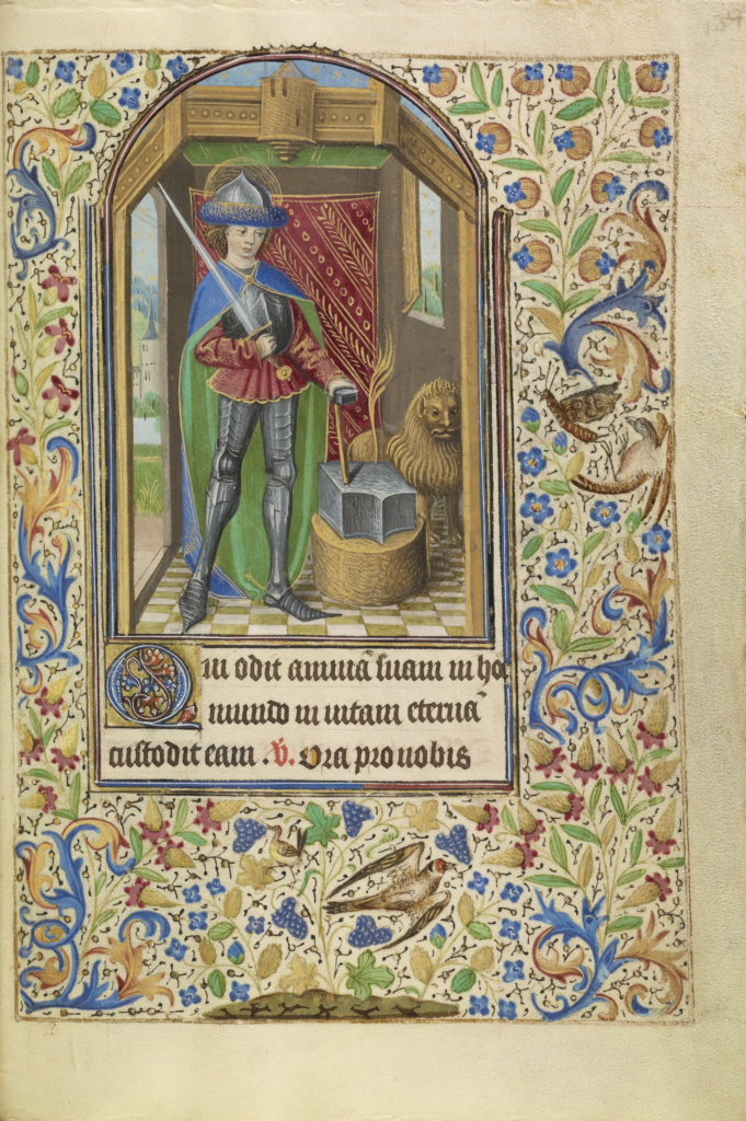 Saint Adrian Armed with a Sword and an Anvil; Master of Jacques of Luxembourg (French, active about 1460 - 1470); Northern France, France; about 1466–1470; Tempera colors, gold leaf, silver leaf, and ink on parchment; Leaf: 16.4 × 11.4 cm (6 7/16 × 4 1/2 in.); Ms. Ludwig IX 11 (83.ML.107), fol. 134; The J. Paul Getty Museum, Los Angeles, Ms. Ludwig IX 11, fol. 134; Rights Statement: No Copyright - United States