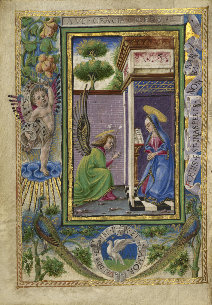 The Annunciation; Taddeo Crivelli (Italian, died about 1479, active about 1451 - 1479); Ferrara, Emilia-Romagna, Italy; about 1469; Tempera colors, gold paint, gold leaf, and ink on parchment; Leaf: 10.8 × 7.9 cm (4 1/4 × 3 1/8 in.); Ms. Ludwig IX 13 (83.ML.109), fol. 3v; The J. Paul Getty Museum, Los Angeles, Ms. Ludwig IX 13, fol. 3v; Rights Statement: No Copyright - United States