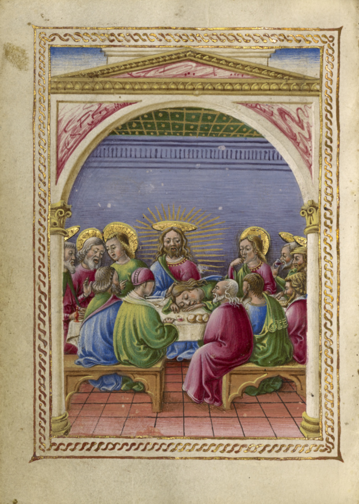 The Last Supper; Taddeo Crivelli (Italian, died about 1479, active about 1451 - 1479); about 1469; Tempera colors, gold paint, gold leaf, and ink on parchment; Leaf: 10.8 × 7.9 cm (4 1/4 × 3 1/8 in.); Ms. Ludwig IX 13 (83.ML.109), fol. 162v; Rights Statement: No Copyright - United States