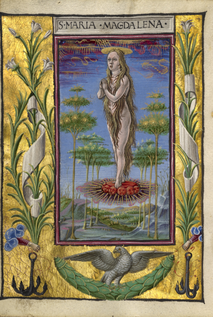 Mary Magdalene Borne Aloft; Taddeo Crivelli (Italian, died about 1479, active about 1451 - 1479); about 1469; Tempera colors, gold paint, gold leaf, and ink on parchment; Leaf: 10.8 × 7.9 cm (4 1/4 × 3 1/8 in.); Ms. Ludwig IX 13 (83.ML.109), fol. 190v; Rights Statement: No Copyright - United States