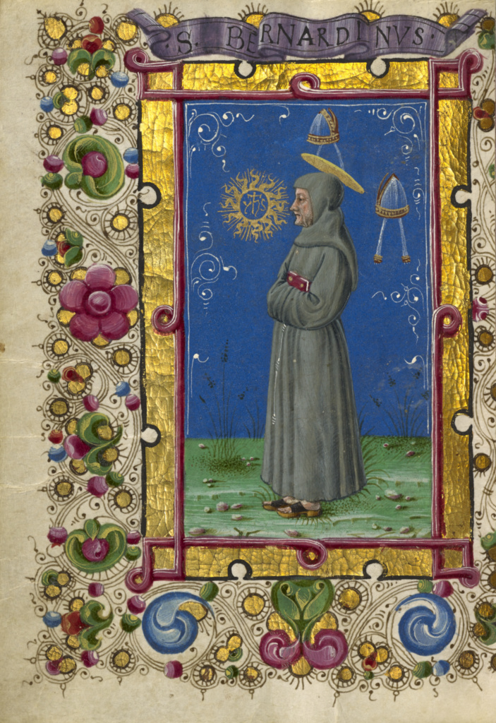 Saint Bernardino of Siena; Taddeo Crivelli (Italian, died about 1479, active about 1451 - 1479); about 1469; Tempera colors, gold paint, gold leaf, and ink on parchment; Leaf: 10.8 × 7.9 cm (4 1/4 × 3 1/8 in.); Ms. Ludwig IX 13 (83.ML.109), fol. 195v; Rights Statement: No Copyright - United States