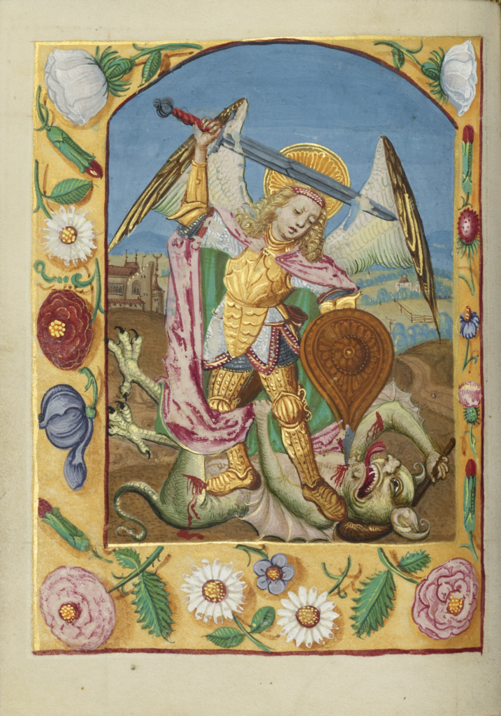 Saint Michael and the Dragon; Unknown; Strasbourg, France; early 16th century; Tempera colors on parchment; Leaf: 13.5 × 10.5 cm (5 5/16 × 4 1/8 in.); Ms. Ludwig IX 16 (83.ML.112), fol. 44v; The J. Paul Getty Museum, Los Angeles, Ms. Ludwig IX 16, fol. 44v; Rights Statement: No Copyright - United States