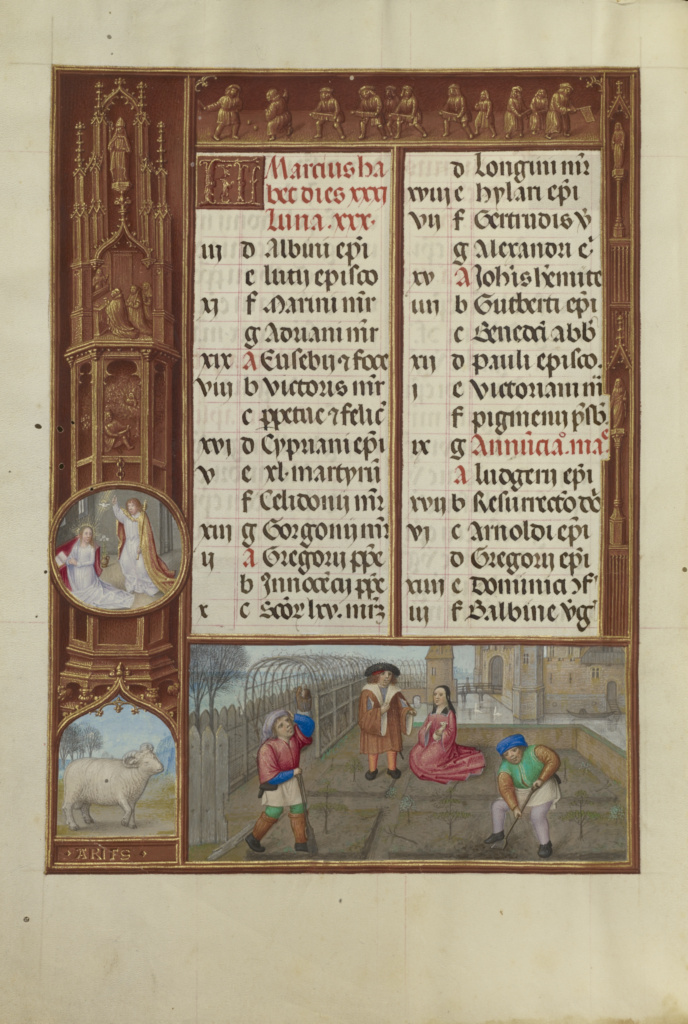 March Calendar Page; Gardening; Aries; Workshop of the Master of James IV of Scotland (Flemish, before 1465 - about 1541); about 1510–1520; Tempera colors, gold, and ink on parchment; Leaf: 23.2 × 16.7 cm (9 1/8 × 6 9/16 in.); Ms. Ludwig IX 18 (83.ML.114), fol. 2v; Rights Statement: No Copyright - United States