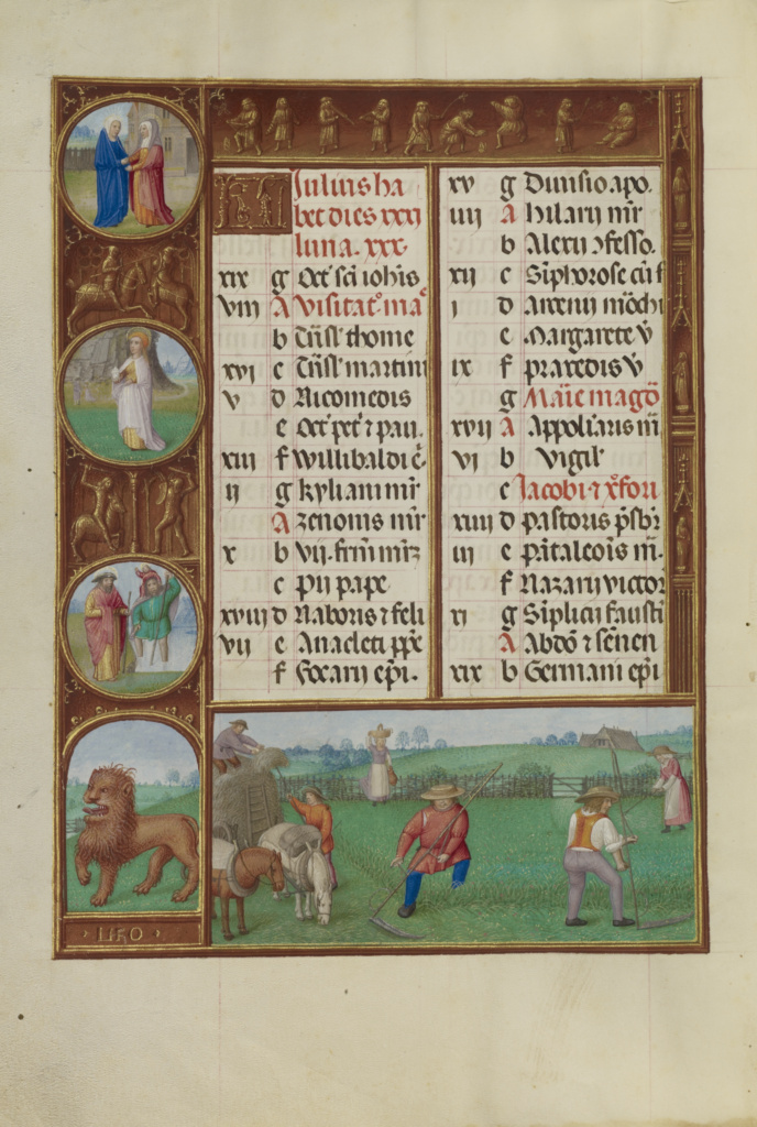 July Calendar Page; Mowing; Leo; Workshop of the Master of James IV of Scotland (Flemish, before 1465 - about 1541); Ghent, Belgium; about 1510–1520; Tempera colors, gold, and ink on parchment; Leaf: 23.2 × 16.7 cm (9 1/8 × 6 9/16 in.); Ms. Ludwig IX 18 (83.ML.114), fol. 4v; The J. Paul Getty Museum, Los Angeles, Ms. Ludwig IX 18, fol. 4v; Rights Statement: No Copyright - United States