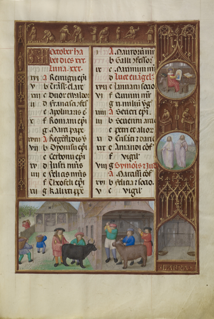 October Calendar Page; Slaughtering and Ox and Grape Harvesting; Libra; Workshop of the Master of James IV of Scotland (Flemish, before 1465 - about 1541); Bruges, Belgium; about 1510–1520; Tempera colors, gold, and ink on parchment; Leaf: 23.2 × 16.7 cm (9 1/8 × 6 9/16 in.); Ms. Ludwig IX 18 (83.ML.114), fol. 6; The J. Paul Getty Museum, Los Angeles, Ms. Ludwig IX 18, fol. 6; Rights Statement: No Copyright - United States