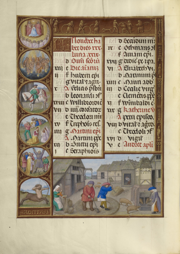 November Calendar Page; Threshing and Pig Feeding; Sagittarius; Workshop of the Master of James IV of Scotland (Flemish, before 1465 - about 1541); about 1510–1520; Tempera colors, gold, and ink on parchment; Leaf: 23.2 × 16.7 cm (9 1/8 × 6 9/16 in.); Ms. Ludwig IX 18 (83.ML.114), fol. 6v; Rights Statement: No Copyright - United States