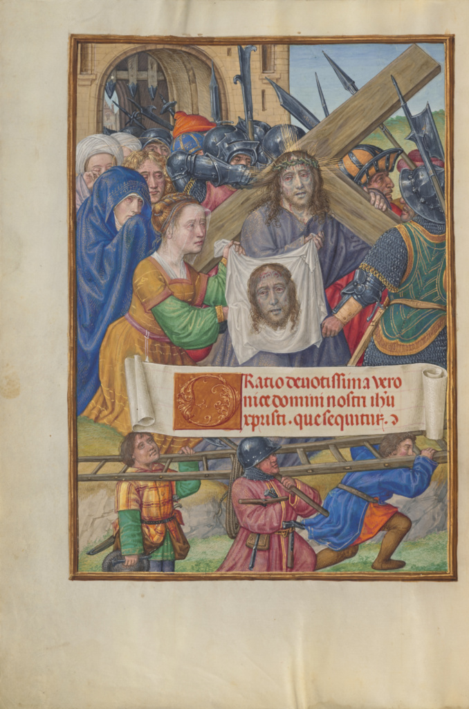 The Way to Calvary and Saint Veronica with the Sudarium; Master of James IV of Scotland (Flemish, before 1465 - about 1541); Bruges, Belgium; about 1510–1520; Tempera colors, gold, and ink on parchment; Leaf: 23.2 × 16.7 cm (9 1/8 × 6 9/16 in.); Ms. Ludwig IX 18 (83.ML.114), fol. 8v; The J. Paul Getty Museum, Los Angeles, Ms. Ludwig IX 18, fol. 8v; Rights Statement: No Copyright - United States