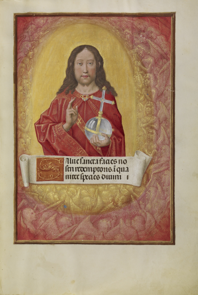 Christ in Majesty; Workshop of Master of the First Prayer Book of Maximilian (Flemish, active about 1475 - 1515); Bruges, Belgium; about 1510–1520; Tempera colors, gold, and ink on parchment; Leaf: 23.2 × 16.7 cm (9 1/8 × 6 9/16 in.); Ms. Ludwig IX 18 (83.ML.114), fol. 9; The J. Paul Getty Museum, Los Angeles, Ms. Ludwig IX 18, fol. 9; Rights Statement: No Copyright - United States