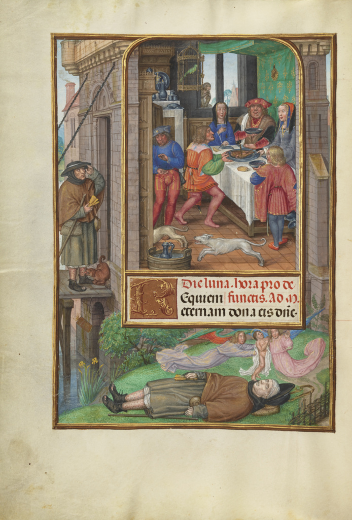 The Feast of Dives; Master of James IV of Scotland (Flemish, before 1465 - about 1541); Bruges, Belgium; about 1510–1520; Tempera colors, gold, and ink on parchment; Leaf: 23.2 × 16.7 cm (9 1/8 × 6 9/16 in.); Ms. Ludwig IX 18 (83.ML.114), fol. 21v; The J. Paul Getty Museum, Los Angeles, Ms. Ludwig IX 18, fol. 21v; Rights Statement: No Copyright - United States