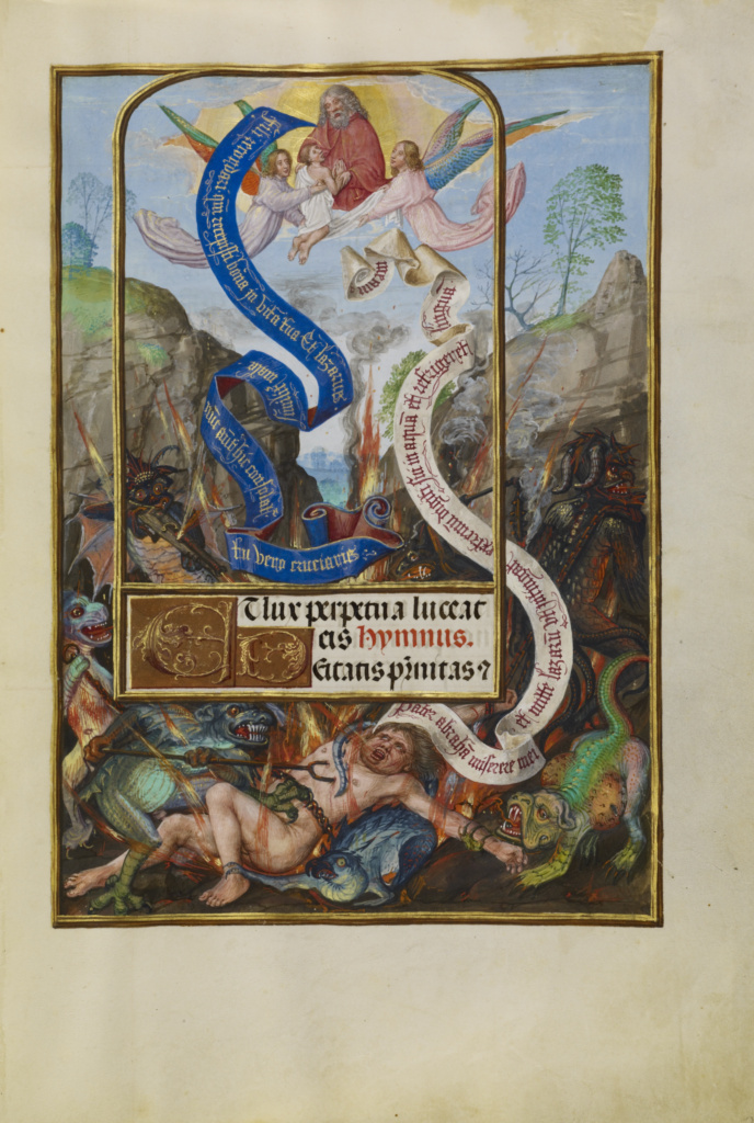 Lazarus's Soul Carried to Abraham; Master of James IV of Scotland (Flemish, before 1465 - about 1541); Bruges, Belgium; about 1510–1520; Tempera colors, gold, and ink on parchment; Leaf: 23.2 × 16.7 cm (9 1/8 × 6 9/16 in.); Ms. Ludwig IX 18 (83.ML.114), fol. 22; The J. Paul Getty Museum, Los Angeles, Ms. Ludwig IX 18, fol. 22; Rights Statement: No Copyright - United States