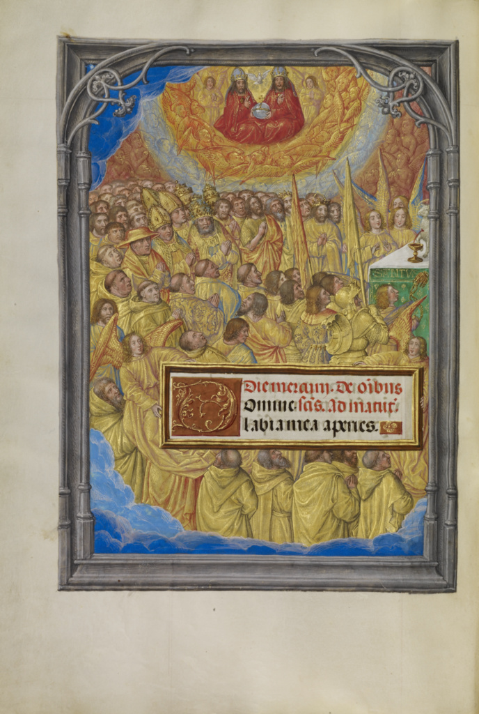 Male Martyrs and Saints Worshiping the Lamb of God; Master of James IV of Scotland (Flemish, before 1465 - about 1541); Bruges, Belgium; about 1510–1520; Tempera colors, gold, and ink on parchment; Leaf: 23.2 × 16.7 cm (9 1/8 × 6 9/16 in.); Ms. Ludwig IX 18 (83.ML.114), fol. 39v; The J. Paul Getty Museum, Los Angeles, Ms. Ludwig IX 18, fol. 39v; Rights Statement: No Copyright - United States