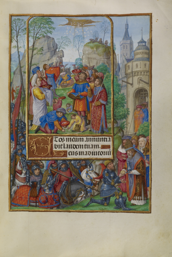 The Israelites Collecting Manna from Heaven; Master of James IV of Scotland (Flemish, before 1465 - about 1541); Ghent, Belgium; about 1510–1520; Tempera colors, gold, and ink on parchment; Leaf: 23.2 × 16.7 cm (9 1/8 × 6 9/16 in.); Ms. Ludwig IX 18 (83.ML.114), fol. 49; The J. Paul Getty Museum, Los Angeles, Ms. Ludwig IX 18, fol. 49; Rights Statement: No Copyright - United States