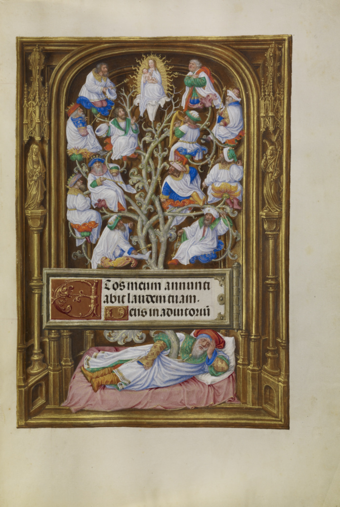 The Tree of Jesse; Master of James IV of Scotland (Flemish, before 1465 - about 1541); Bruges, Belgium; about 1510–1520; Tempera colors, gold, and ink on parchment; Leaf: 23.2 × 16.7 cm (9 1/8 × 6 9/16 in.); Ms. Ludwig IX 18 (83.ML.114), fol. 65; The J. Paul Getty Museum, Los Angeles, Ms. Ludwig IX 18, fol. 65; Rights Statement: No Copyright - United States