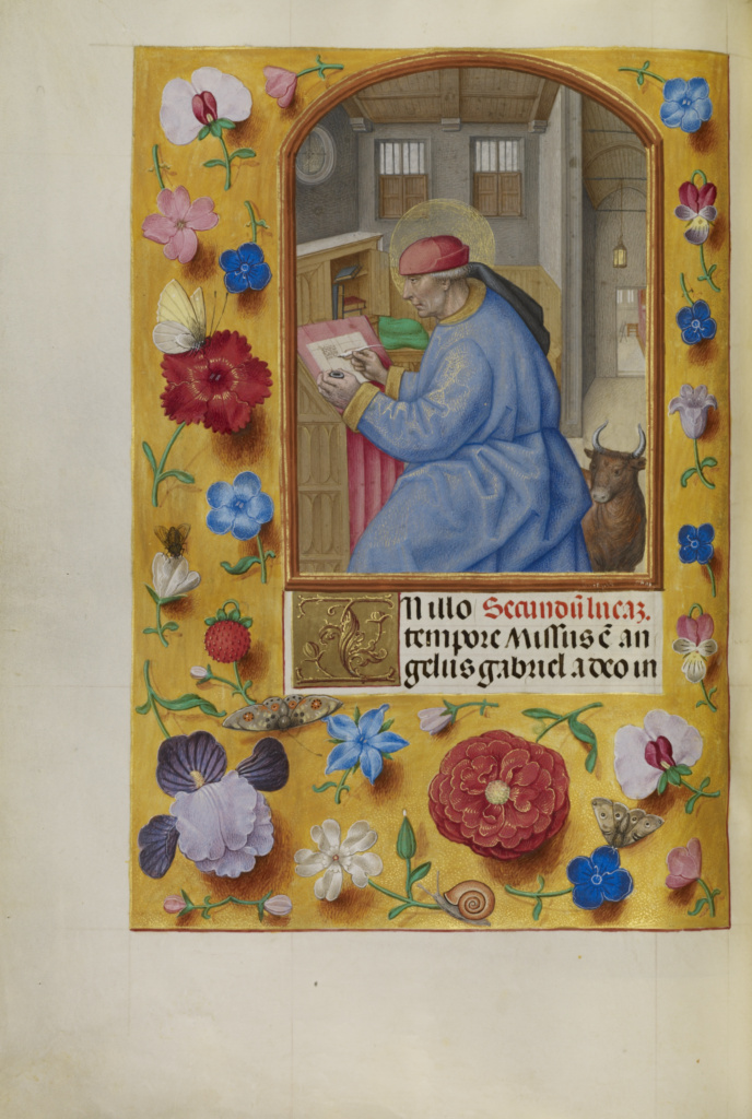 Saint Luke; Workshop of Master of the First Prayer Book of Maximilian (Flemish, active about 1475 - 1515); Bruges, Belgium; about 1510–1520; Tempera colors, gold, and ink on parchment; Leaf: 23.2 × 16.7 cm (9 1/8 × 6 9/16 in.); Ms. Ludwig IX 18 (83.ML.114), fol. 85v; The J. Paul Getty Museum, Los Angeles, Ms. Ludwig IX 18, fol. 85v; Rights Statement: No Copyright - United States