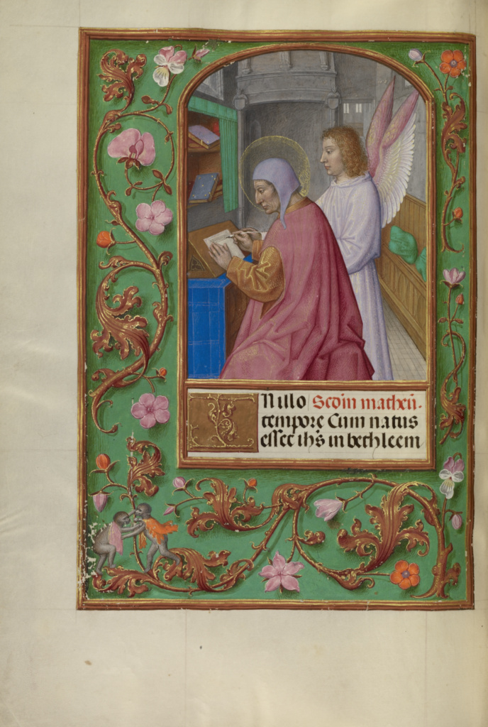 Saint Matthew; Workshop of Master of the First Prayer Book of Maximilian (Flemish, active about 1475 - 1515); Bruges, Belgium; about 1510–1520; Tempera colors, gold, and ink on parchment; Leaf: 23.2 × 16.7 cm (9 1/8 × 6 9/16 in.); Ms. Ludwig IX 18 (83.ML.114), fol. 87v; The J. Paul Getty Museum, Los Angeles, Ms. Ludwig IX 18, fol. 87v; Rights Statement: No Copyright - United States