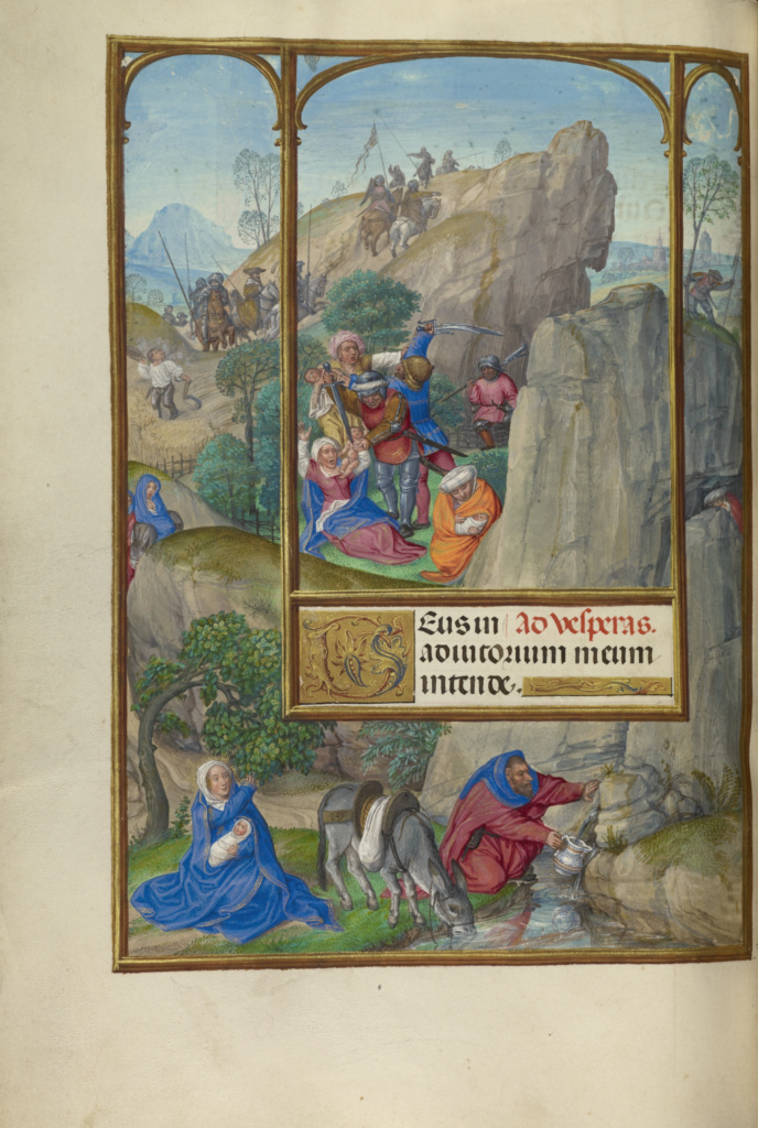 The Massacre of the Innocents; Master of James IV of Scotland (Flemish, before 1465 - about 1541); Bruges, Belgium; about 1510–1520; Tempera colors, gold, and ink on parchment; Leaf: 23.2 × 16.7 cm (9 1/8 × 6 9/16 in.); Ms. Ludwig IX 18 (83.ML.114), fol. 140v; The J. Paul Getty Museum, Los Angeles, Ms. Ludwig IX 18, fol. 140v; Rights Statement: No Copyright - United States