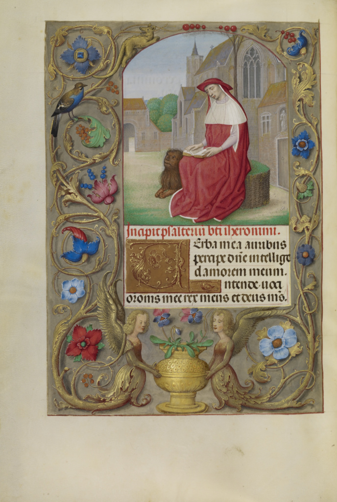 Saint Jerome Reading; Workshop of Master of the First Prayer Book of Maximilian (Flemish, active about 1475 - 1515); about 1510–1520; Tempera colors, gold, and ink on parchment; Leaf: 23.2 × 16.7 cm (9 1/8 × 6 9/16 in.); Ms. Ludwig IX 18 (83.ML.114), fol. 223v; Rights Statement: No Copyright - United States