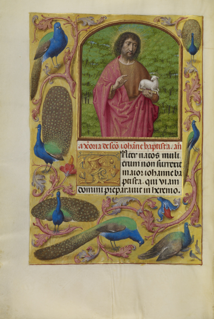 Saint John the Baptist with the Lamb of God on a Book; Workshop of Master of the First Prayer Book of Maximilian (Flemish, active about 1475 - 1515); Ghent, Belgium; about 1510–1520; Tempera colors, gold, and ink on parchment; Leaf: 23.2 × 16.7 cm (9 1/8 × 6 9/16 in.); Ms. Ludwig IX 18 (83.ML.114), fol. 249v; The J. Paul Getty Museum, Los Angeles, Ms. Ludwig IX 18, fol. 249v; Rights Statement: No Copyright - United States