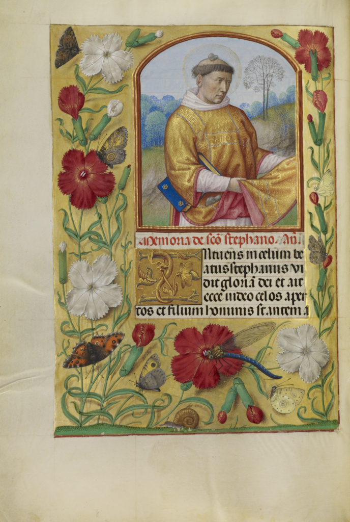 Saint Stephen; Workshop of Master of the First Prayer Book of Maximilian (Flemish, active about 1475 - 1515); Ghent, Belgium; about 1510–1520; Tempera colors, gold, and ink on parchment; Leaf: 23.2 × 16.7 cm (9 1/8 × 6 9/16 in.); Ms. Ludwig IX 18 (83.ML.114), fol. 253v; The J. Paul Getty Museum, Los Angeles, Ms. Ludwig IX 18, fol. 253v; Rights Statement: No Copyright - United States