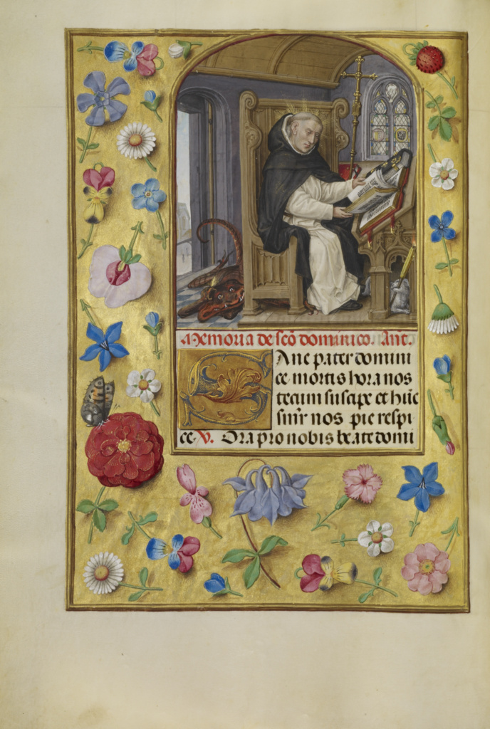 Saint Dominic; Master of James IV of Scotland (Flemish, before 1465 - about 1541); about 1510–1520; Tempera colors, gold, and ink on parchment; Leaf: 23.2 × 16.7 cm (9 1/8 × 6 9/16 in.); Ms. Ludwig IX 18 (83.ML.114), fol. 260v; Rights Statement: No Copyright - United States