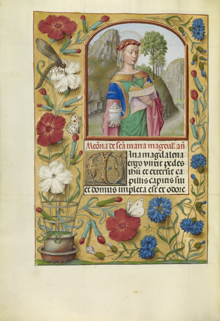 Mary Magdalene with a Book and an Ointment Jar; Workshop of Master of the First Prayer Book of Maximilian (Flemish, active about 1475 - 1515); Bruges, Belgium; about 1510–1520; Tempera colors, gold, and ink on parchment; Leaf: 23.2 × 16.7 cm (9 1/8 × 6 9/16 in.); Ms. Ludwig IX 18 (83.ML.114), fol. 264v; The J. Paul Getty Museum, Los Angeles, Ms. Ludwig IX 18, fol. 264v; Rights Statement: No Copyright - United States