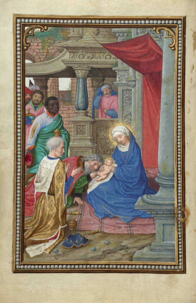 The Adoration of the Magi; Simon Bening (Flemish, about 1483 - 1561); Bruges, Belgium; about 1525–1530; Tempera colors, gold paint, and gold leaf on parchment; Leaf: 16.8 × 11.4 cm (6 5/8 × 4 1/2 in.); Ms. Ludwig IX 19 (83.ML.115), fol. 36v; The J. Paul Getty Museum, Los Angeles, Ms. Ludwig IX 19, fol. 36v; Rights Statement: No Copyright - United States