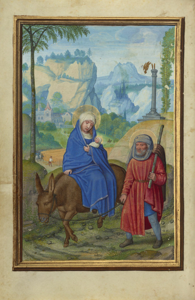 The Flight into Egypt; Simon Bening (Flemish, about 1483 - 1561); Bruges, Belgium; about 1525–1530; Tempera colors, gold paint, and gold leaf on parchment; Leaf: 16.8 × 11.4 cm (6 5/8 × 4 1/2 in.); Ms. Ludwig IX 19 (83.ML.115), fol. 47v; The J. Paul Getty Museum, Los Angeles, Ms. Ludwig IX 19, fol. 47v; Rights Statement: No Copyright - United States