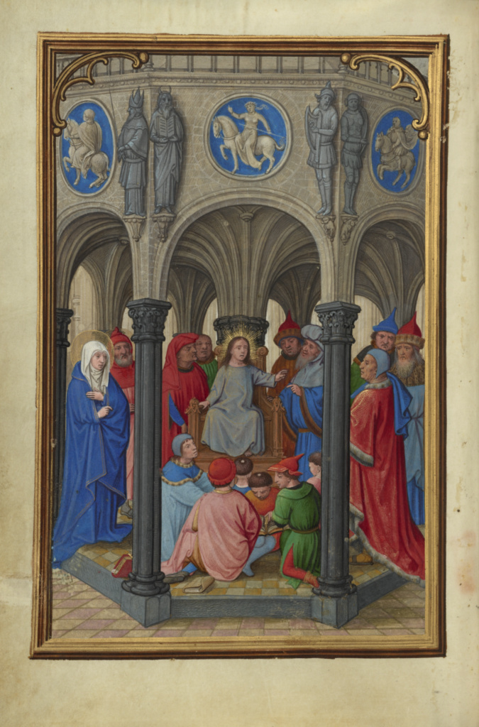 Jesus Among the Doctors; Simon Bening (Flemish, about 1483 - 1561); Bruges, Belgium; about 1525–1530; Tempera colors, gold paint, and gold leaf on parchment; Leaf: 16.8 × 11.4 cm (6 5/8 × 4 1/2 in.); Ms. Ludwig IX 19 (83.ML.115), fol. 53v; The J. Paul Getty Museum, Los Angeles, Ms. Ludwig IX 19, fol. 53v; Rights Statement: No Copyright - United States