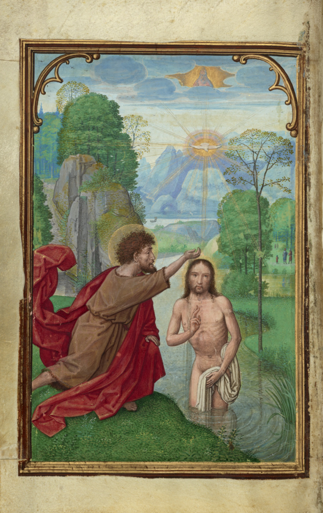 The Baptism of Christ; Simon Bening (Flemish, about 1483 - 1561); Bruges, Belgium; about 1525–1530; Tempera colors, gold paint, and gold leaf on parchment; Leaf: 16.8 × 11.4 cm (6 5/8 × 4 1/2 in.); Ms. Ludwig IX 19 (83.ML.115), fol. 58v; The J. Paul Getty Museum, Los Angeles, Ms. Ludwig IX 19, fol. 58v; Rights Statement: No Copyright - United States