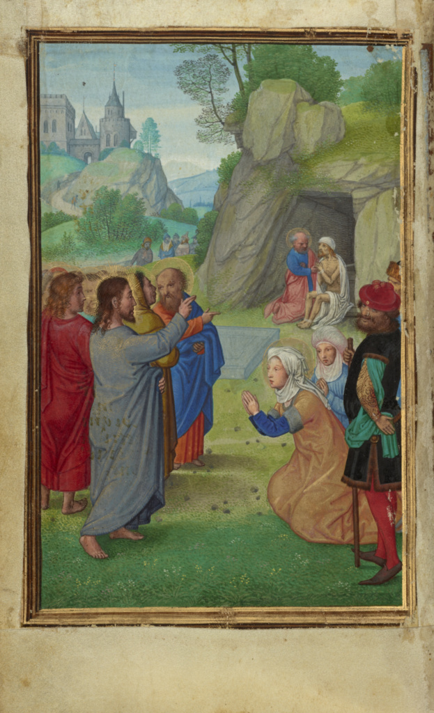 The Raising of Lazarus; Simon Bening (Flemish, about 1483 - 1561); about 1525 - 1530; Tempera colors, gold paint, and gold leaf on parchment; Leaf: 16.8 × 11.4 cm (6 5/8 × 4 1/2 in.); Ms. Ludwig IX 19 (83.ML.115), fol. 69v; Rights Statement: No Copyright - United States