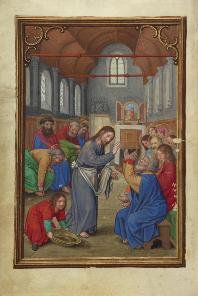 Christ Washing the Apostles' Feet; Simon Bening (Flemish, about 1483 - 1561); Bruges, Belgium; about 1525–1530; Tempera colors, gold paint, and gold leaf on parchment; Leaf: 16.8 × 11.4 cm (6 5/8 × 4 1/2 in.); Ms. Ludwig IX 19 (83.ML.115), fol. 87v; The J. Paul Getty Museum, Los Angeles, Ms. Ludwig IX 19, fol. 87v; Rights Statement: No Copyright - United States