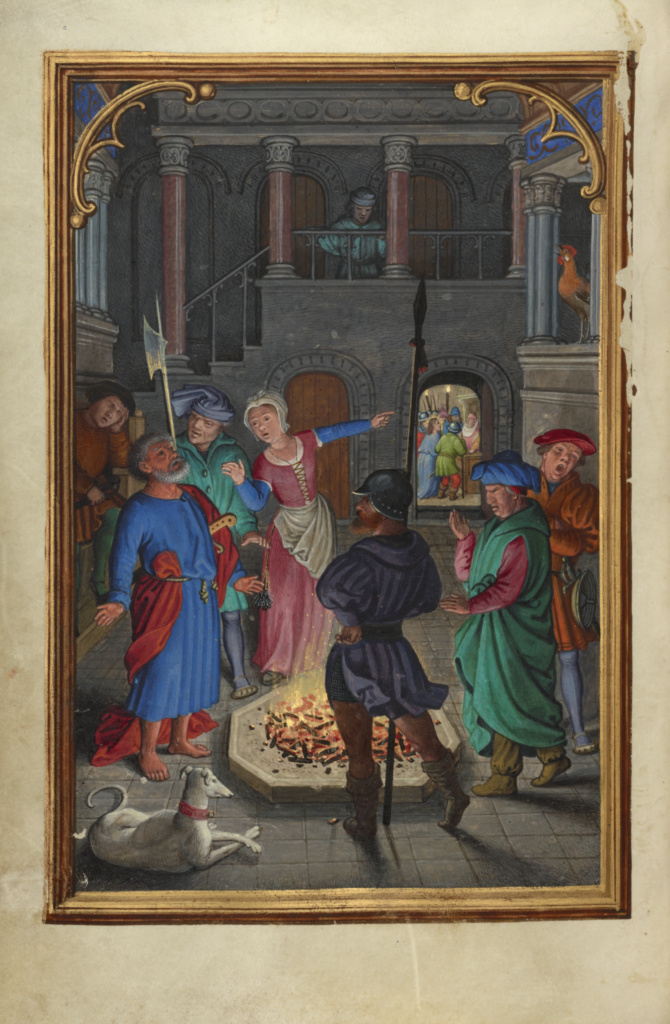 The Denial of Saint Peter; Simon Bening (Flemish, about 1483 - 1561); about 1525–1530; Tempera colors, gold paint, and gold leaf on parchment; Leaf: 16.8 × 11.4 cm (6 5/8 × 4 1/2 in.); Ms. Ludwig IX 19 (83.ML.115), fol. 123v; Rights Statement: No Copyright - United States