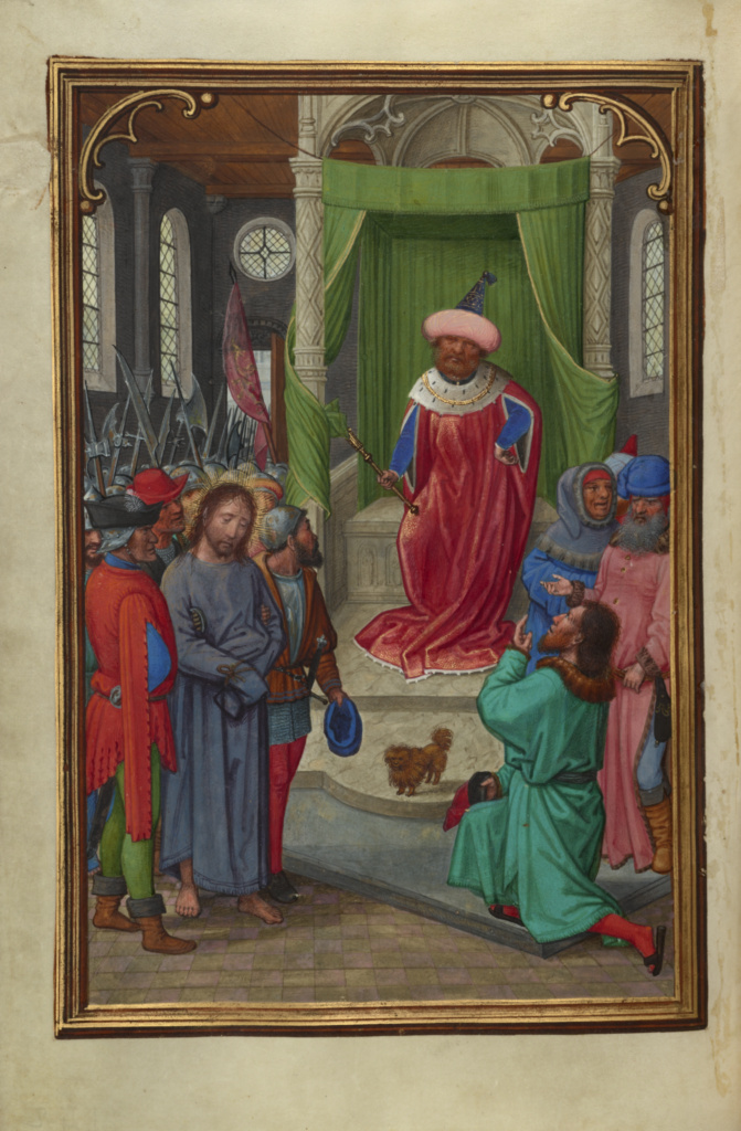 Christ before Herod; Simon Bening (Flemish, about 1483 - 1561); Bruges, Belgium; about 1525–1530; Tempera colors, gold paint, and gold leaf on parchment; Leaf: 16.8 × 11.4 cm (6 5/8 × 4 1/2 in.); Ms. Ludwig IX 19 (83.ML.115), fol. 143v; The J. Paul Getty Museum, Los Angeles, Ms. Ludwig IX 19, fol. 143v; Rights Statement: No Copyright - United States